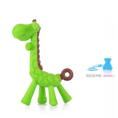 盟宝牙胶宝宝咬牙软玩具婴儿硅胶可水煮咬咬胶儿童小鹿无毒磨牙棒绿色