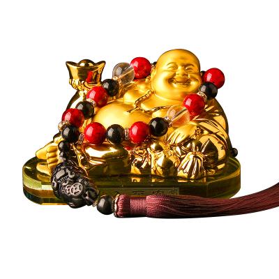 (彌勒佛+仿玉貔貅佛珠)ZHUAX汽車彌勒佛擺件車載香水車內佛像裝飾創意個性高檔男士水晶座琉璃香薰內飾用品送禮