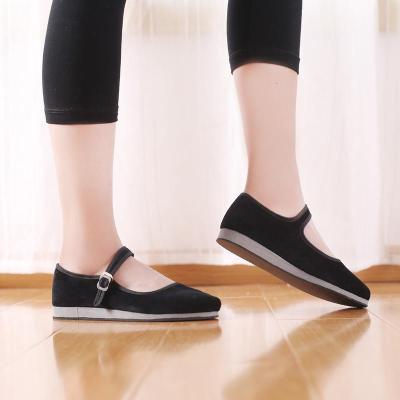 民族舞蹈鞋胶州秧歌鞋东北秧歌鞋舞蹈练功鞋女成人考级绒布鞋 黑色 34