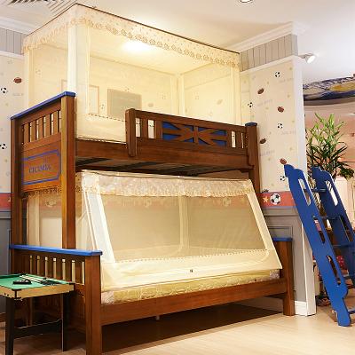沿蔻家纺 蚊帐子母床学生宿舍单人上铺1.2m铝合金支架儿童双层下铺1.5米床