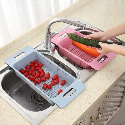 可伸縮洗菜盆淘菜盆瀝水籃長方形塑料水果盤家用廚房水槽洗碗收納 北歐綠