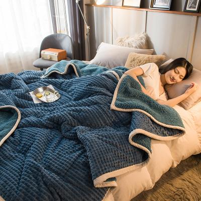 J.H.Longess 保暖加厚三層夾棉休閑毯雙色AB版羊羔絨魔法絨毛毯家居單雙人鋪蓋毯子