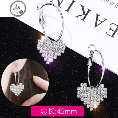 日韓版愛心閃鉆純銀耳釘女氣質長款耳環個性珍珠耳線耳扣耳墜飾品   JiMi