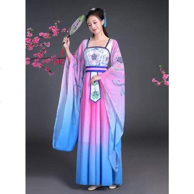 礼仪之邦演出服中国风舞蹈服装儿童古装汉服广袖仙女武媚娘
