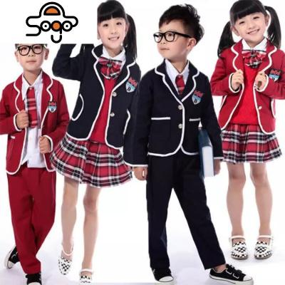 幼儿园园服春秋西装四件套白衬衣红格裙合唱表演服男女童校服套装