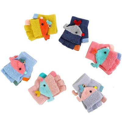 冬季5-10岁儿童半指手套男童女童翻盖两用手套小学生写字手套