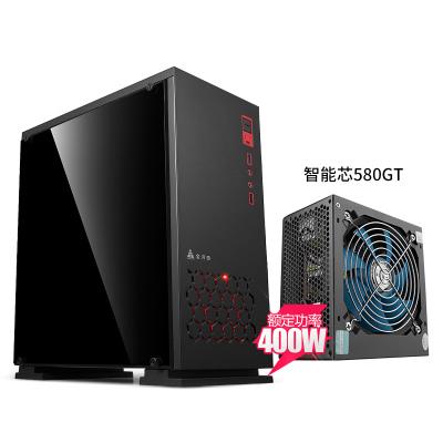 金河田預見預見N-6B plus(全側透)臺式機側透M-ATX電腦機箱游戲電腦主機箱搭配智能芯580GT額定400w電源