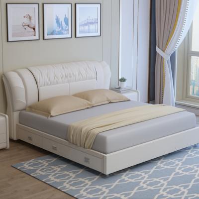 真皮床主臥小戶型北歐1.8米雙人婚床1.5米儲物簡約現代實木皮藝床