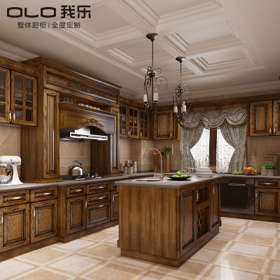 我樂廚柜廚房整體櫥柜定制歐式實木整體櫥柜定做全屋定制圣艾米倫