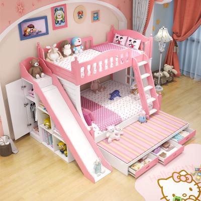兒童床上下床女孩雙層床公主粉色高低床實木子母床多功能床組 雙層床+拖床+衣柜滑梯 1350mm*1900mm更多組合形式