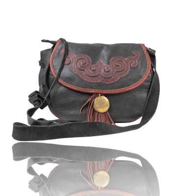 【中華特色館】西藏館 番德林藏式包包 半圓形包 黑色半圓形女包 真皮包百搭半圓形包