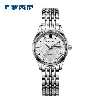 羅西尼(ROSSINI)手表商務簡約 休閑 女士經典鎢鋼上套 金屬 表帶星期日歷雙歷石英表 女表6574W01C