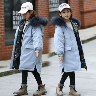 花样童依儿童羽绒服女童中长款2019新款韩版童装女大童加厚保暖外套两面穿