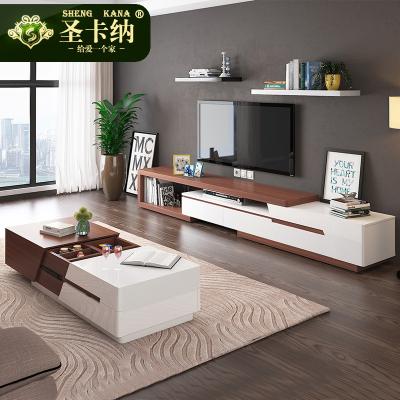 圣卡納 茶幾 北歐簡約現代茶幾電視柜組合套裝烤漆功能伸縮茶幾小戶型儲物木質客廳家具 6347