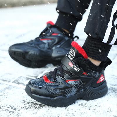 绛天  帅气男童大棉鞋 2019新款儿童保暖户外运动鞋 北方中大童加厚加绒毛鞋 防水皮面跑步鞋