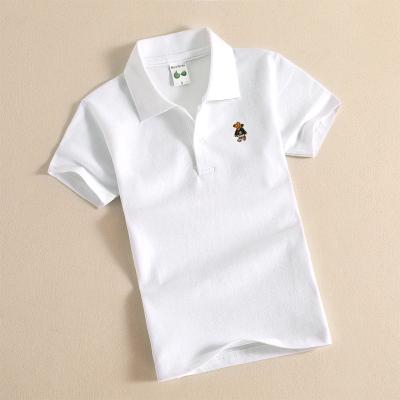 童裝棉質夏季短袖T恤男女童POLO衫夏季男童短袖純色T恤翻領棉 莎丞