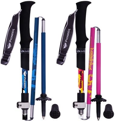 开拓者(Pioneer)碳纤维折叠登山杖超短五节杖碳素拐杖徒步手杖可伸缩