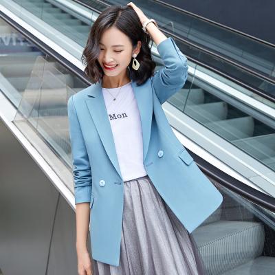 女先生女士西裝 淡藍色西裝外套女春秋韓版時尚百搭女士小西服2020年新款工作服氣質收腰網紅小個子西服