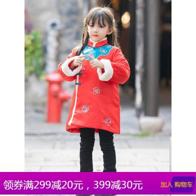 汉服女童冬款中国风加厚棉服女宝宝新年装拜年服儿童中式棉衣唐装