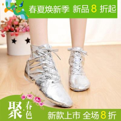 爵士舞鞋女高帮白色软底儿童舞蹈鞋练功增高男爵士靴系带肚皮舞鞋
