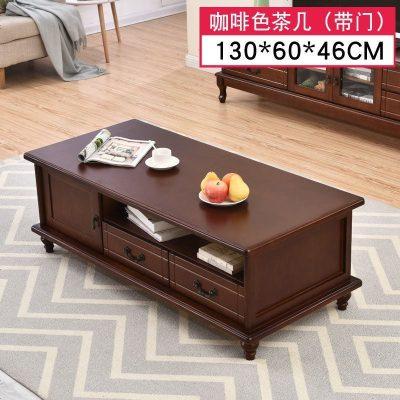 實木茶幾餐桌兩用現代簡約客廳儲物歐式茶幾電視柜組合小戶型整裝 整裝_咖啡色1.3米茶幾-帶_款 定制電視柜 賽可優 定制