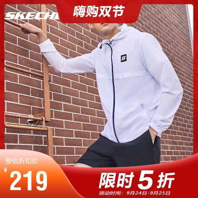 Skechers斯凱奇夏季梭織連帽外套情侶款男運動休閑皮膚衣L120M020