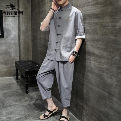 傳奇保羅(CHUANQIBAOLUO)中山裝男套裝夏季薄款青年寬松大碼漢服刺繡潮流禪服五分袖兩件套