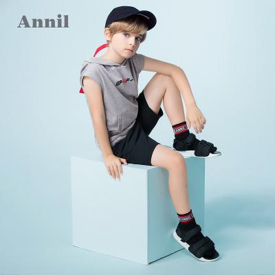 安奈兒童裝男童純棉連帽背心夏裝新款字母潮酷
