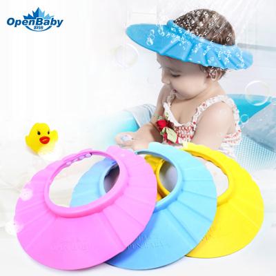 歐培(OPEN BABY)新生兒用品必備 嬰兒浴帽 可調節加厚兒童洗頭帽 嬰幼兒防水澡帽【黃色】