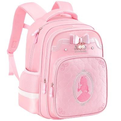 迪士尼(Disney)愛麗絲書包小學生女童1-3年級公主7-10歲女孩兒童減負雙肩背包SA80021粉色