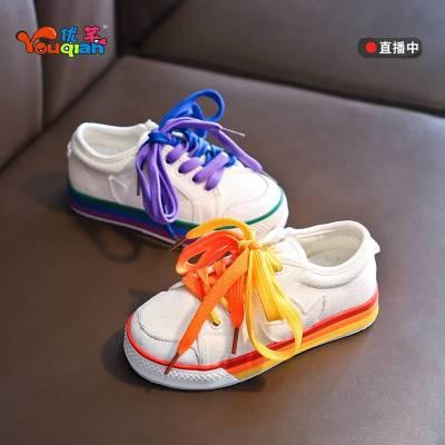 女童鸳鸯帆布鞋2019秋新款时尚网红童鞋儿童板鞋小白鞋男童韩版潮