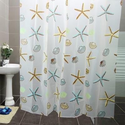 歐潤哲 浴簾 PEVA海星款 1.8m*1.8m加厚防水防霉簾子布衛生家掛簾阻隔浴罩