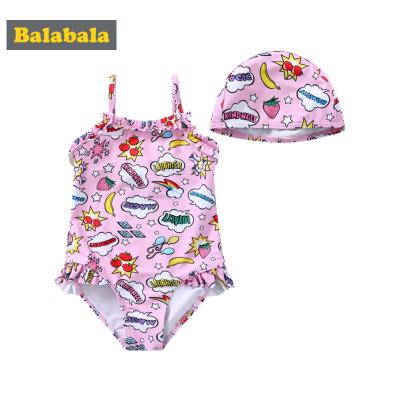 巴拉巴拉儿童泳衣女童连体泳装夏装新款小童宝宝三角式游泳衣