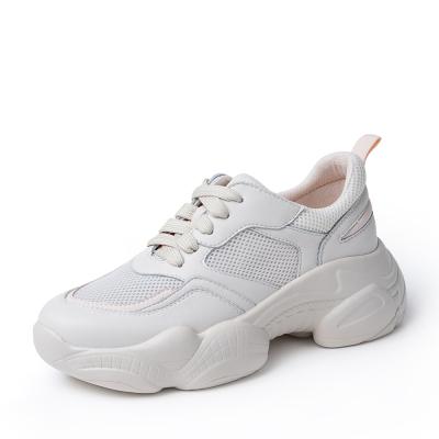 BASTO/百思图2019秋季白色剖层牛皮革/纺织物女旅游鞋A5771CM9