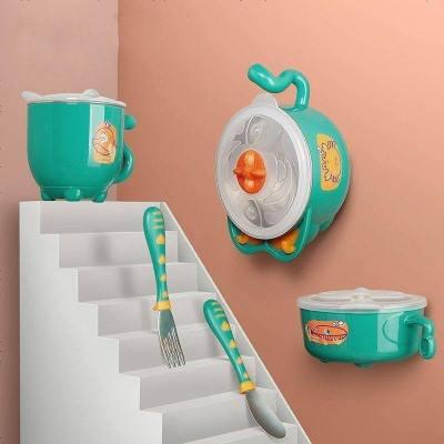 babycare輔食碗 兒童餐具 寶寶防摔碗吸盤碗輔食碗勺套裝 嬰兒注水保溫碗套裝 雀湖綠 五件套