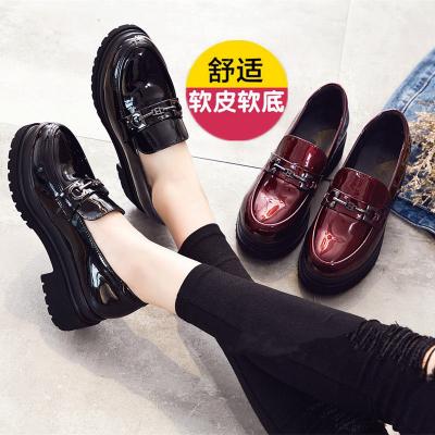 新款2020時尚真皮單鞋女士厚底韓版休閑松糕鞋中跟英倫女鞋真皮小皮鞋