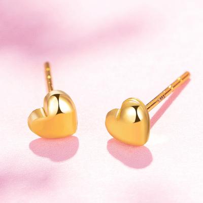【2020新款】老廟黃金 18K金耳飾Au750玫瑰金心形愛心簡約耳釘耳飾