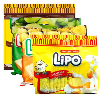 Lipo 进口糕点 鸡蛋面包干300g 榴莲味 椰子味 巧克力味 鸡蛋味四味组合共1200g