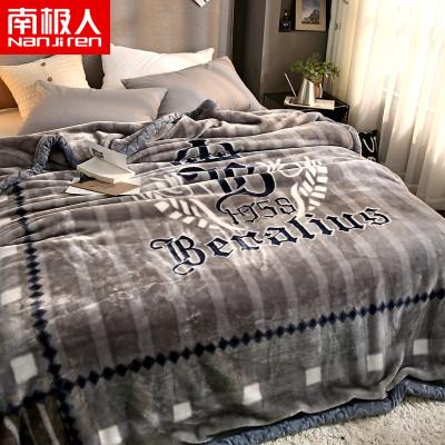 南極人(NanJiren)家紡 加厚保暖拉舍爾毛毯絨毯子 床上用品秋冬印花蓋毯柔軟厚實午睡毯