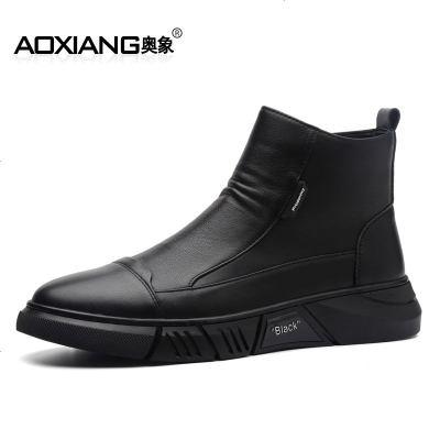 马丁靴切尔西中帮皮靴高帮棉鞋靴子英伦风加绒冬季工装男保暖雪地