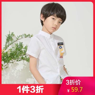 【1件3折價:59.7】米喜迪mecity童裝夏新款男童織帶裝飾時尚短袖白兒童襯衫薄款
