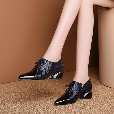 奕珂百麗牛皮粗跟深口單鞋女春季女鞋真皮尖頭中跟皮鞋時尚一腳蹬休閑穆勒鞋大碼靴子深藍色