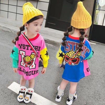 女童连衣裙春装女宝宝中长款长袖T恤儿童卫衣裙洋气打底衫春秋潮