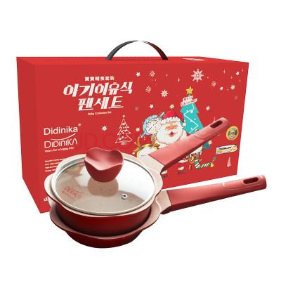 Didinika韩国新年宝宝锅奶锅16cm麦饭石辅食锅蒸煮不粘锅泡面煮奶煎蛋锅煎锅 红色