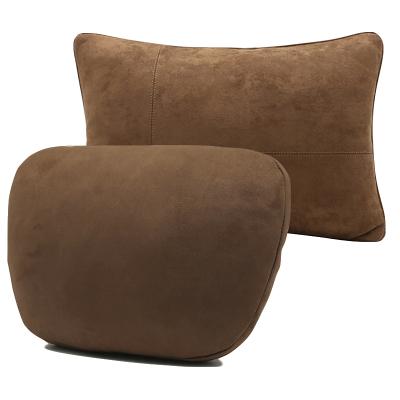 (栗棕色頭枕+腰靠)ZHUAX汽車頭枕護頸枕頸椎枕靠枕車內座椅腰靠車用小枕頭車載抱枕車內四季睡覺奔馳邁巴赫S級高檔