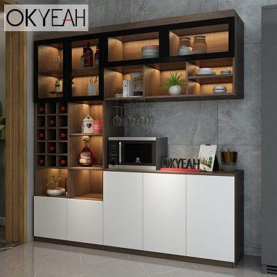 HOTBEE靠墻酒柜現代簡約餐邊柜茶水柜定制新款輕奢電視柜一體客廳玻璃柜