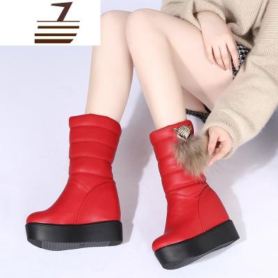 2019冬红色大棉松糕短靴子女中筒靴厚底内增高皮面雪地靴大码棉靴