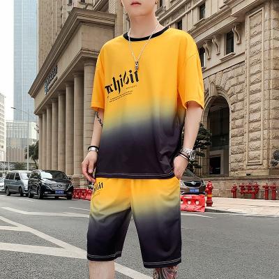 墨爾斯特(MO ER SI TE)2020夏季男港風ins體t恤套裝學生寬松休閑潮男丅恤上衣服兩件套TZ077