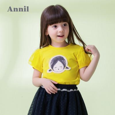 安奈兒童裝女童泡泡袖圓領休閑短袖t恤夏裝新款可愛甜美上衣