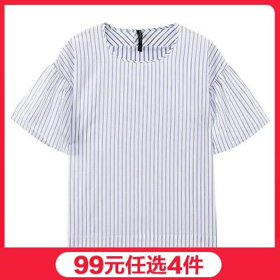 【99元任選4件】美特斯邦威女泡泡袖襯衫短袖舒適休閑短袖襯衫
